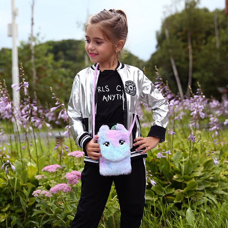 Kawaii Colorful Unicorn Plush Messenger Bag Plush Toy Fashion Coin Purse Shoulder Bag For Girls Children Kids Birthday Gifts