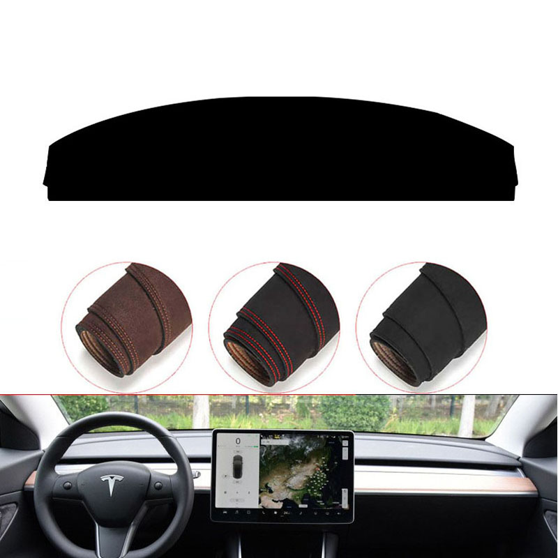 New Console Dashboard Suede Mat Protector Sunshield Cover Fit For Tesla Model 3 2017-2019