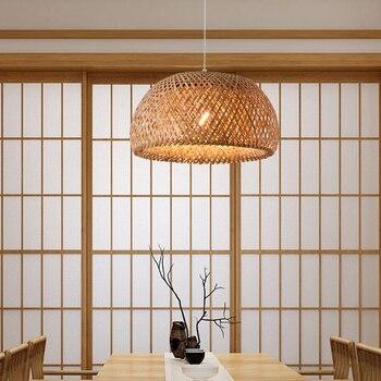 Modern warm light  Bamboo Work Hand Knitted Bamboo Weaving Chandelier Restaurant Handmade Incandescent Bulbs