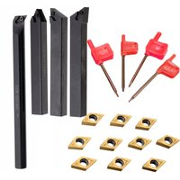 10pcs Carbide Insert Blades with 4 Pcs SCLCR Boring Bar Tool Holder with 4pcs Wrenches For Lathe Turning Tools DCMT0702