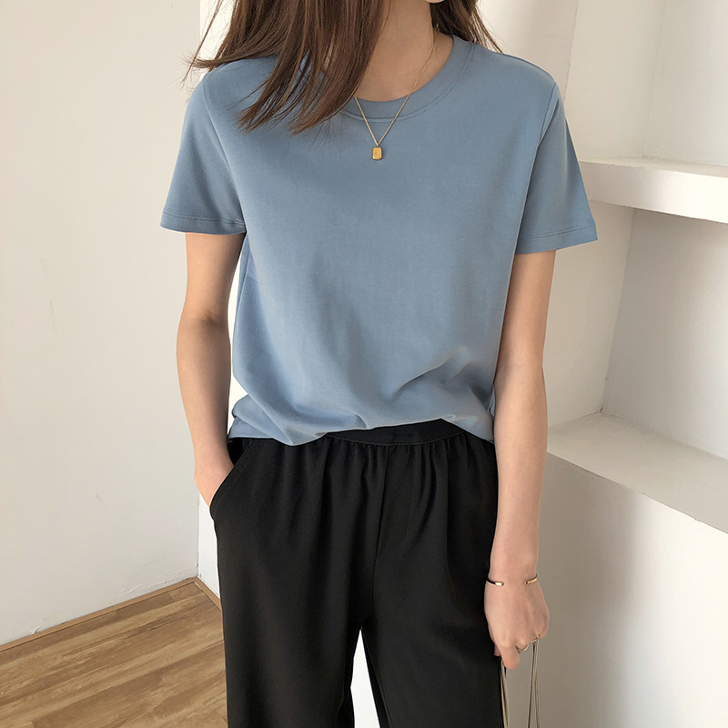 Soft Cotton Woman T-shirt Short Sleeve O Neck 2020 Summer Solid Color Tees Pullovers