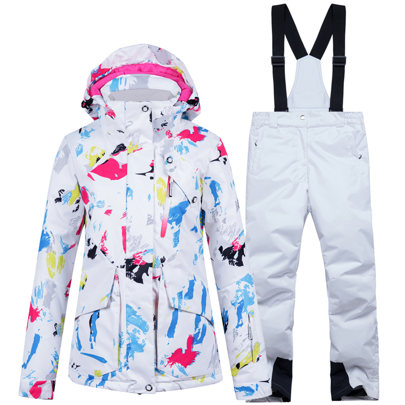 New Warm White Ski Suit Women Waterproof Breathable Skiing and Snowboarding Jacket Pants Set Female Winter Outdoor Costumes