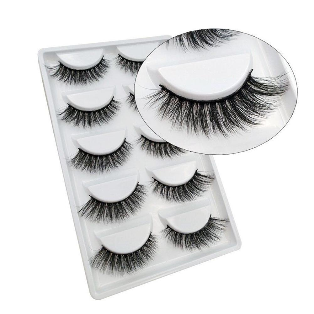 5 Pair Women Eye Makeup Natural Fake Eyelashes Long Thick Cross Lashes Extension Wispy Makeup Beauty Extension Artificial Lashes