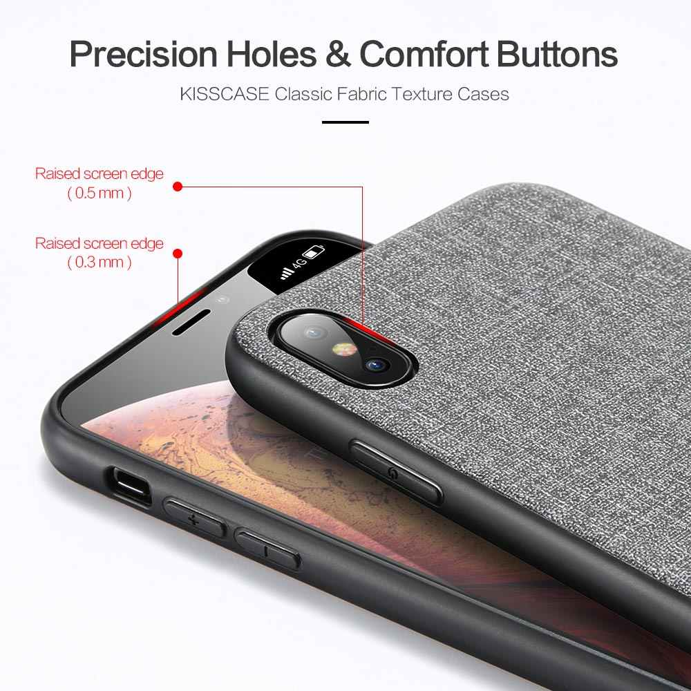 KISSCASE เดิมผ้า PU หนังสำหรับ iPhone XS MAX XR XS X 10 6S 6 7 8 PLUS ผ้า Retro สำหรับ iPhone 11 PRO MAX