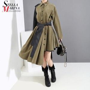 Image 1 - Manga larga verde militar Mujer 2020 invierno Midi vestido de camisa PU fajas Patchwork asimétrica señoras elegante vestido de fiesta estilo 5698