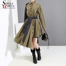 New 2019女性の冬ファッション長袖グリーンシャツpuレザーサッシ非対称レディーススタイリッシュなパーティードレス5698