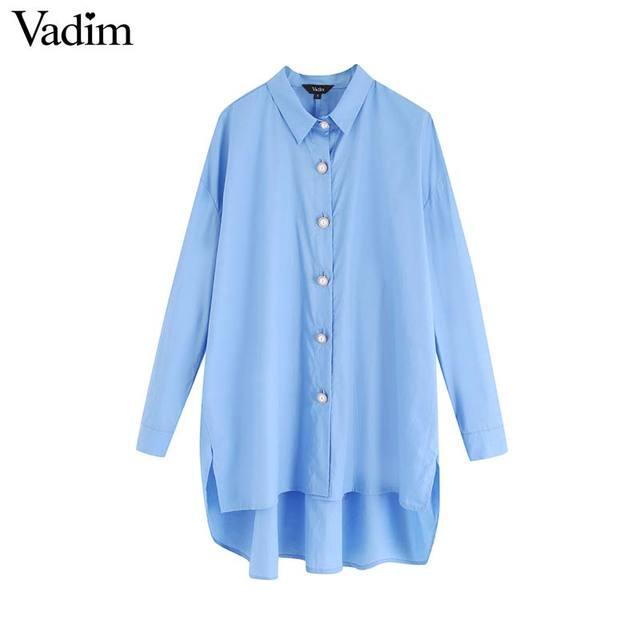 Vadim נשים אופנתי מוצק סדיר חולצות גדול ארוך שרוול חולצות נקבה מקרית loose ארוך סגנון חולצות blusas mujer LB760