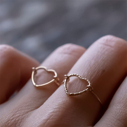 14K or rempli en forme de coeur anneaux Knuckle Bague minimalisme or bijoux Anillos Mujer Bague Femme Boho Aneis Bague pour les femmes