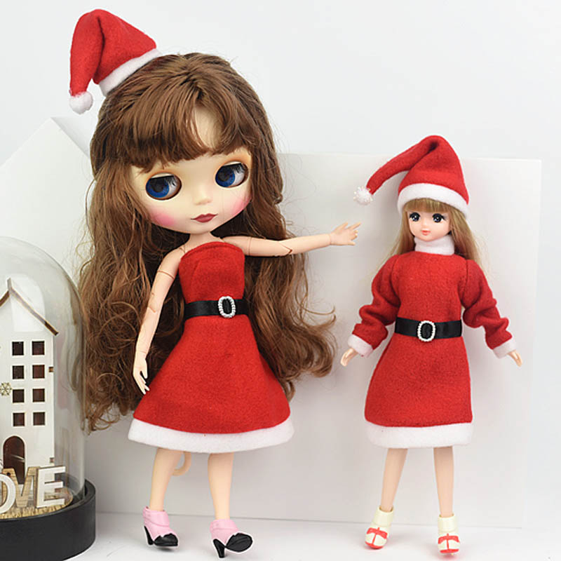 Handmade Merry Christmas Outfit For Blythe Doll Dress & Red Hat High Heels Shoes Clothes For Barbie Doll Accessories Toy