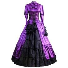 Готическая Классическая Лолита аристократ платье лолиты женские атласные с бантом кружева выпускного вечера Винтажный стиль Японский косплей костюмы z1212