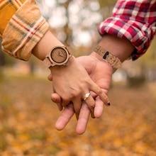 BOBO BIRD Couple Watch Men Bamboo Quartz Wristwatches Wooden Wood Watch for Women custom logo Lover's Gift Gift relogio masculin