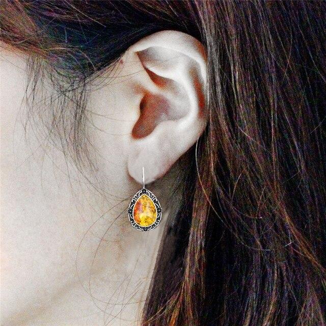 Pendientes Vintage de amberos sint ticos con colgante de flor Chapado en plata antigua pendiente de