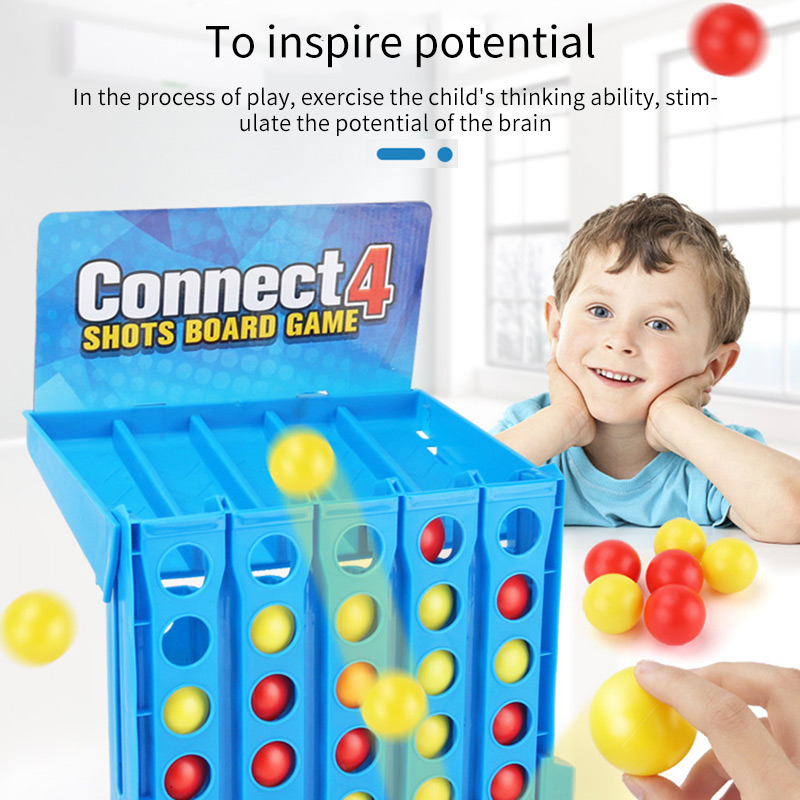 Bouncing Linking Shots Connect 4 Game 1 Set Board Game Entertainment Educational Puzzle Toys For Kids Finger Basketball Shooting