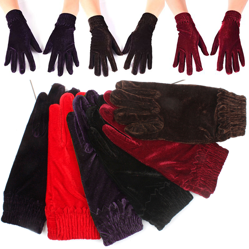 Elegant Velvet Elastic Gloves Winter Women Warm Soft Thermal Comfortable Mittens Short Wine Red Crimson Gloves Christmas Gifts