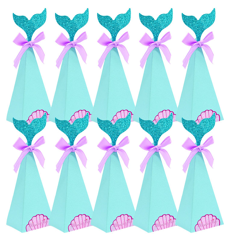 Mermaid Candy Box DIY Paper Box Bags Mermaid Birthday Decorations Little Mermaid Gift Box For Kids Birthday Party Favor Supplies