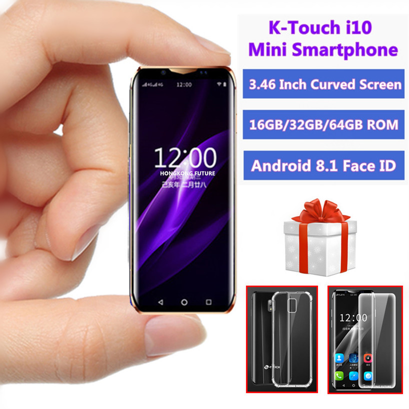 Super Mini 4G Smartphone K-TOUCH I10S 16GB/32GB/64GB ROM WIFI Google Play Smallest Student Face ID Android Mobile Phone PK I9S