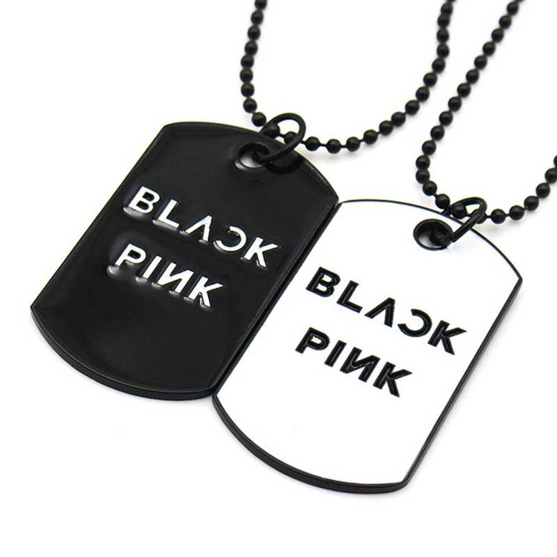 Vintage kpop star blackpink Pendant necklace Personalized metal Men's Military Necklace simple Sweater chain jewelry for women
