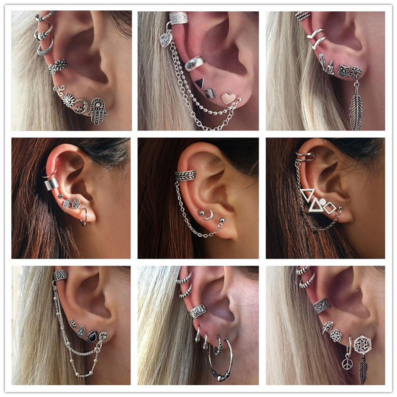 Tocona Vintage Silver Color Geometric Stud Earrings Set For Women Fashion Crystal Stone Heart Flower Leaf Chain Bohemian Jewelry