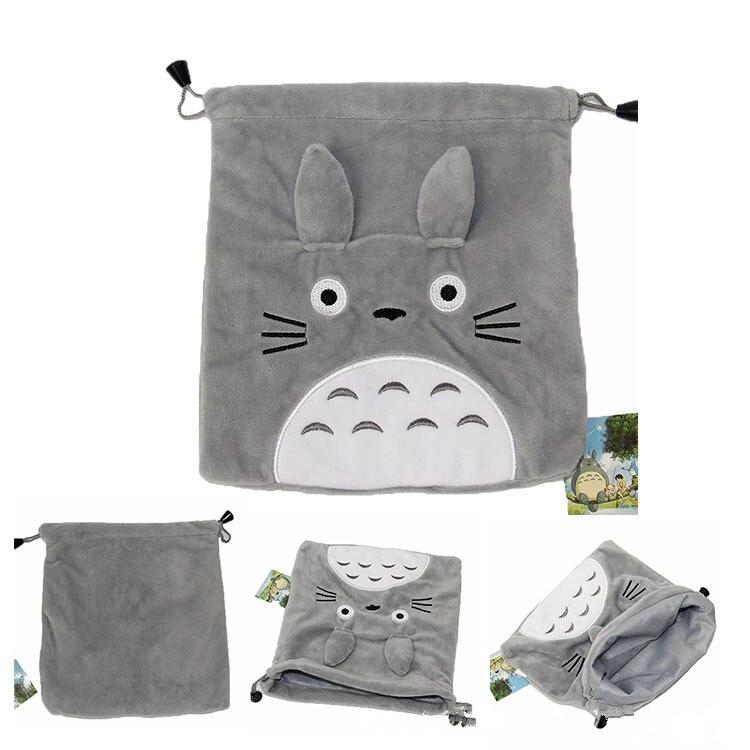 21X19CM Totoro Storage Bag My Neighbor Totoro Cat Cartoon Gray Plush Soft Stuffed Animals Wallet Creative Drawstring Purse Bag