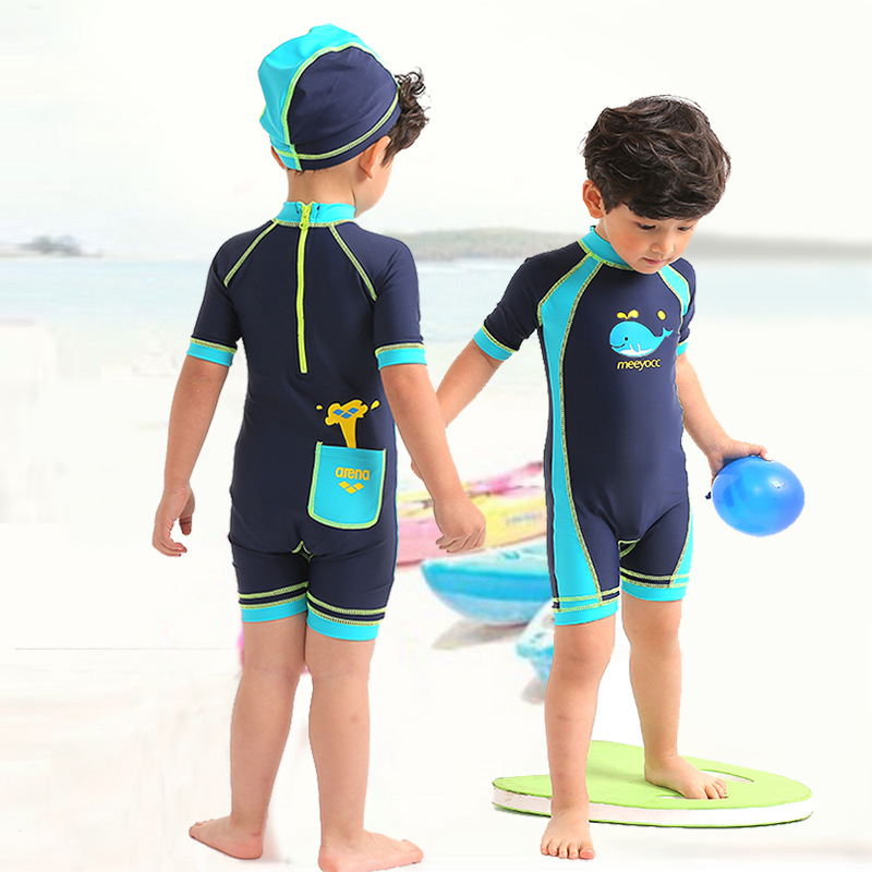 Summer Big Boy Dark Blue Mixed Colors Whale Zipper Cute BOY'S Hot Springs Surf Wear Two-Piece Set KID'S Swimwear