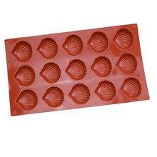 15 cavidade concha forma moldes de silicone de chocolate fondant bolo decoração molde ferramentas de cozimento