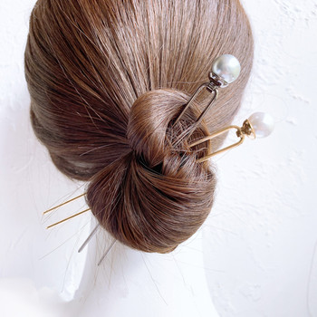 CHIMERA Simple Metal Hair Fork Vintage Alloy U-Shape Pearl Hairpin Elegant Golden Hair Clips Bun Pins Accessories for Women Lady 1
