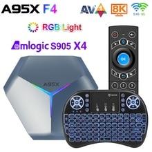 Tv box inteligente 4gb 128gb amlogic s905x4 rgb light, android 10, 4gb, 64gb, dual wi fi, 8k, reprodutor de mídia a95xf4