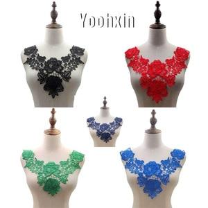 Luxury cotton rose embroidery flower lace collar Fabric Sewing Applique DIY guipure ribbon trim neckline craft wedding decor