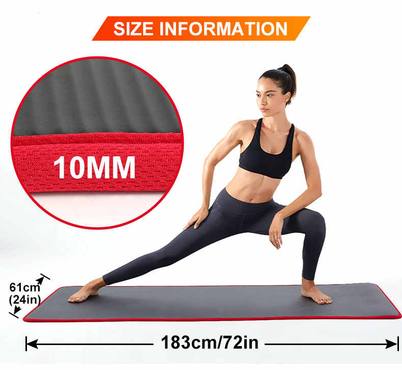 10 millimetri di Spessore Antiscivolo IN PVC Yoga Nero Zerbino di Alta Qualità NRB Palestra Famiglia Pilates Fitness Reformer di Gomma Naturale коврик для спорта