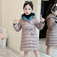 Winter Baby Girl Clothes Parka Coats Hooded Warm Outerwear Fashion Clothes Children Cotton Padded Coats For Girls 6-12 Years hooded jackets for girls children outerwear cotton cartoon mouse girls baseball trench letters coats for 4 6 8 10 12 14 years