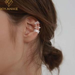 XIYANIKE 925 Sterling Silver Multi-layer Zircon Ear Clip Female Unique Design Cool Temperament Elegant Hip-hop Fashion Jewelry