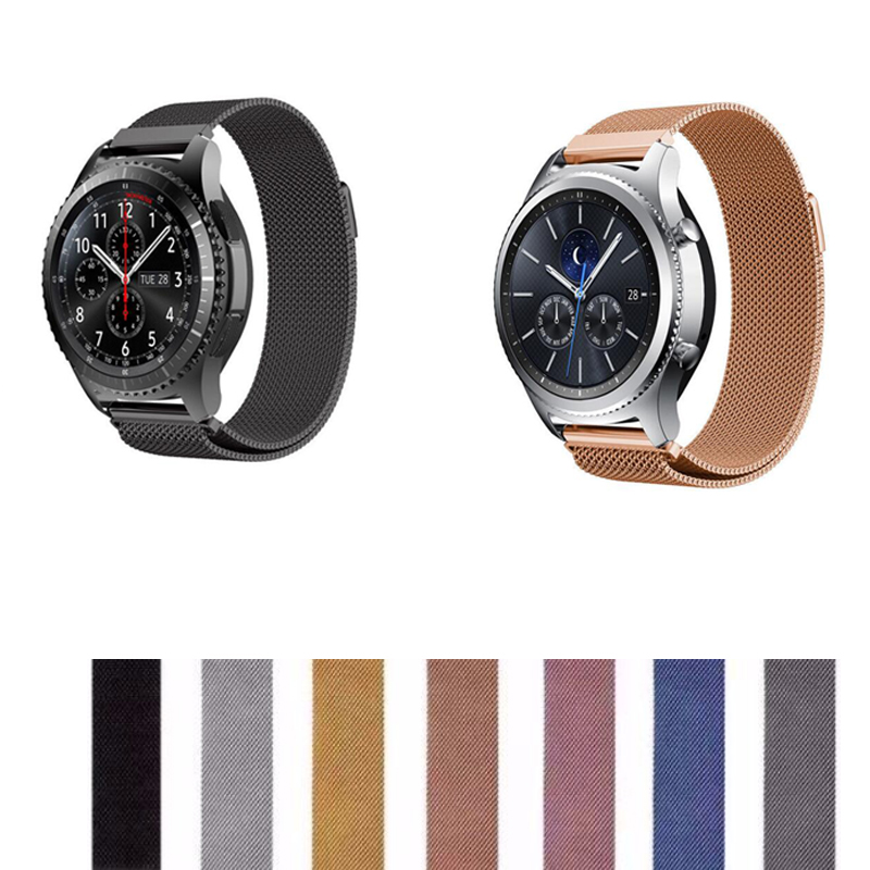 20 22mm Band For Samsung Galaxy Active 2 42 46mm Bracelet Zenwatch Ticwatch S S2 E 2 1 Pro C2 Pebble Time Stainless Steel Strap