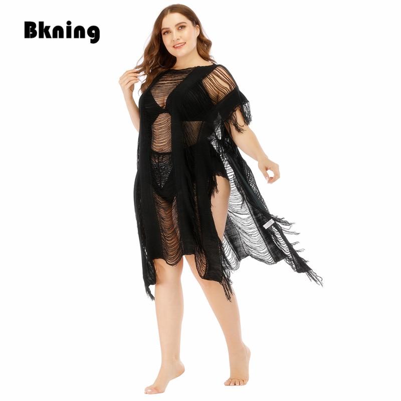2020 Knitted Beach Dress Black Cover Up Women Crochet Tunic Hollow Out Pareo Bikini Praia Salida De Playa Beachwear Cover-ups