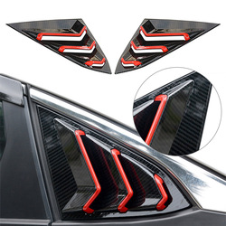 Car Side Air Vent Carbon Fiber ABS Red Window Louver Cover For Honda Civic 10th X 2016 2017 2018 2019 2020