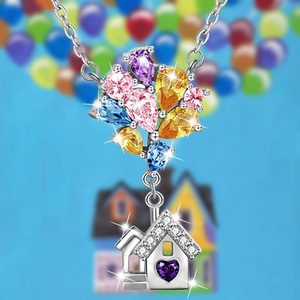 Berbeny UP House Rhinestone Necklaces Women Balloons House Pendant Necklace Room Cute Dainty Charm Romantic Gift Jewelry