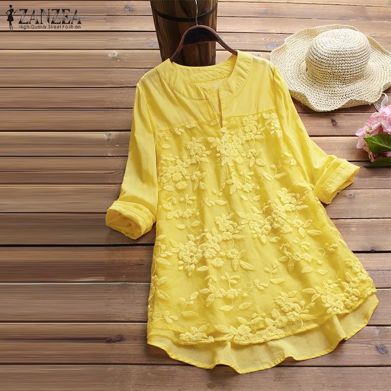 2019 ZANZEA Cotton Linen Tops Women Blouse Elegant V Neck Long Sleeve Shirt Casual Autumn Lace Shirts Vintage Embroidery Blusas