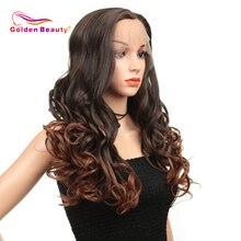 Синтетический парик фронта шнурка для черных/белых женщин, длинный волнистый парик красного, коричневого, розового цвета 613, высокотемпературное волокно золотой красоты
