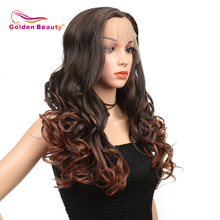 Synthetic Lace Front Wig For Black/White Women Long Ombre Body Wave Wig Red Brow
