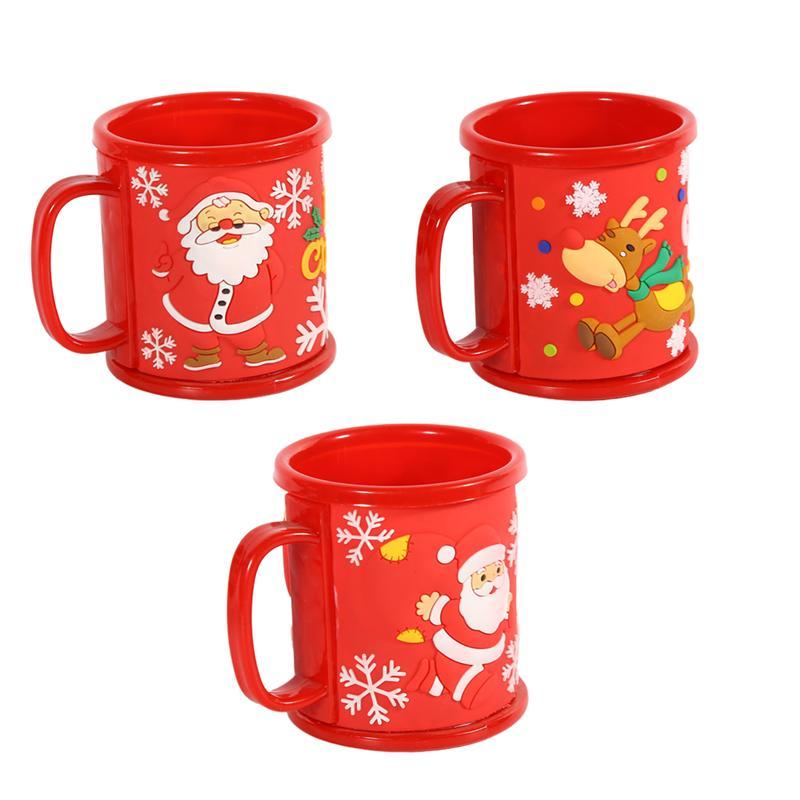3pcs Christmas Mug Lightweight Santa Claus Drinking Cup Mug Water Cup for Hotel