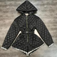 New style small fragrance wind pressure Plaid Cotton waistband lace hooded cotton pants Jumpsuit trend
