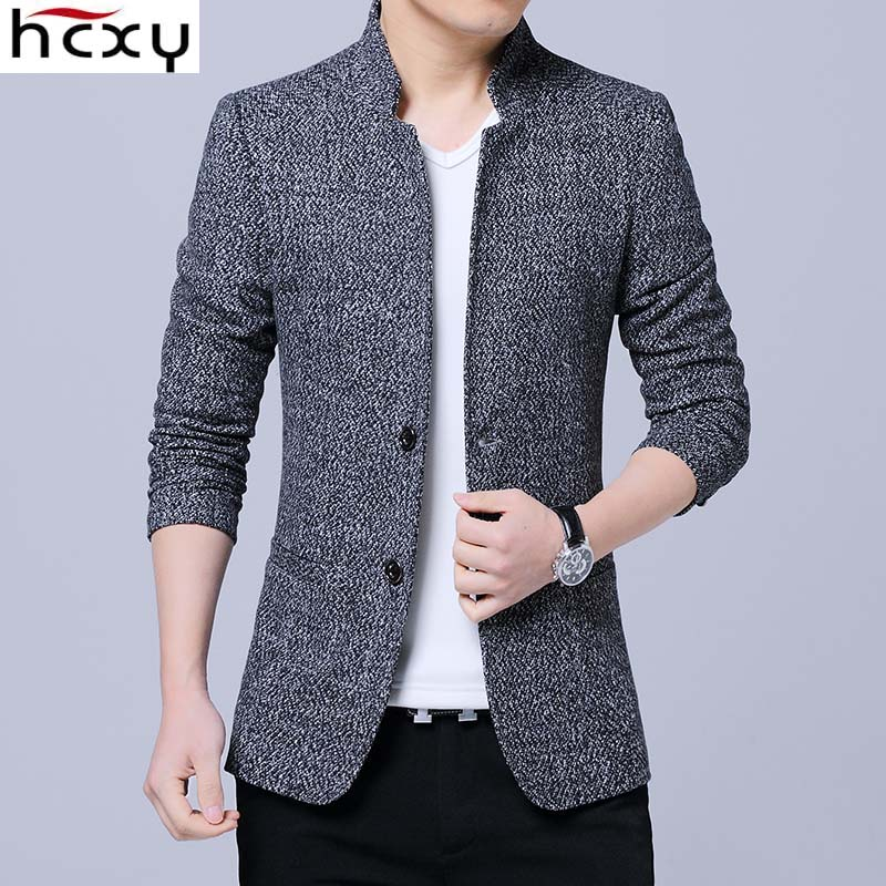 HCXY 2019 Men's Selected Autumn Winter Blazer Men Casual Suit Jacket Coat Commercial Business Smart Casual Suit Jackets Male
