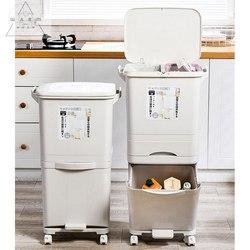 42L Große Doppel Schichten Müll Trash Dosen Küche Vertikale Abfall Sortierung Bins mit Rad Müll Tasche Halter Recycelbar Lagerung