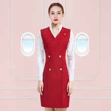 Dames Office Uniform Ontwerpen Stewardess Vrouwen Kantoor Werk Vest En Rok Past Werkkleding Stewardess Uniform DD2341(China)