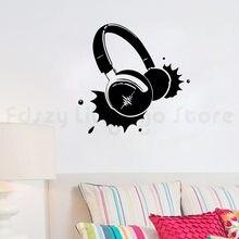 Sluchawki muzyka winylu ściany trzymać Rock piosenka piosenkarka wystala salonu naklejka ścianka do pokoju dla chłopcówH676