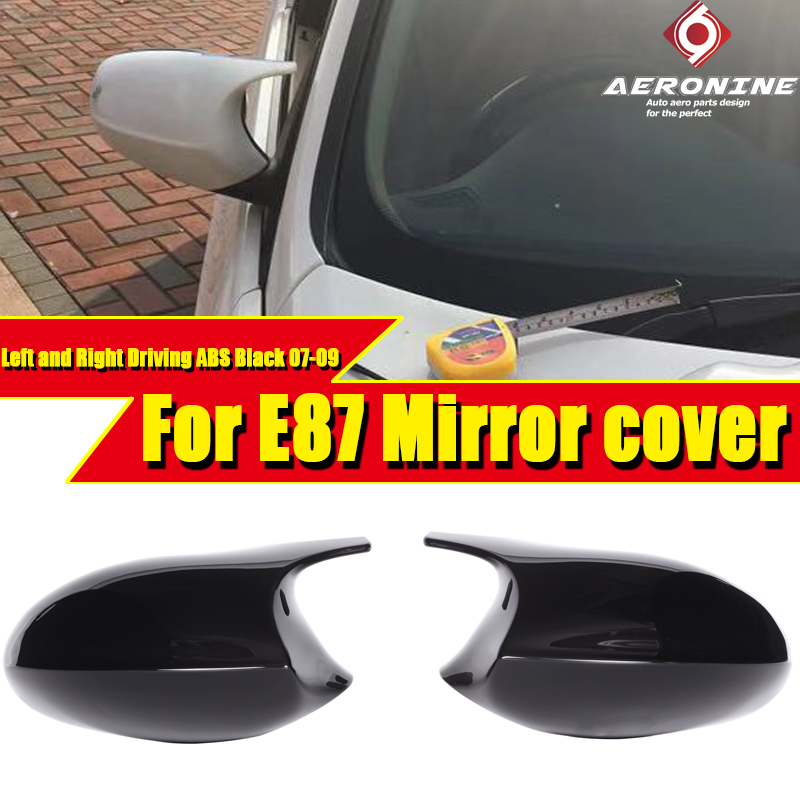 For BMW 1 Series E87 Sedan Side Mirror Cover Cap Add on style M1 Look 100% Vacuumed Dry ABS Gloss Black Replacement 2Pcs 2007 09