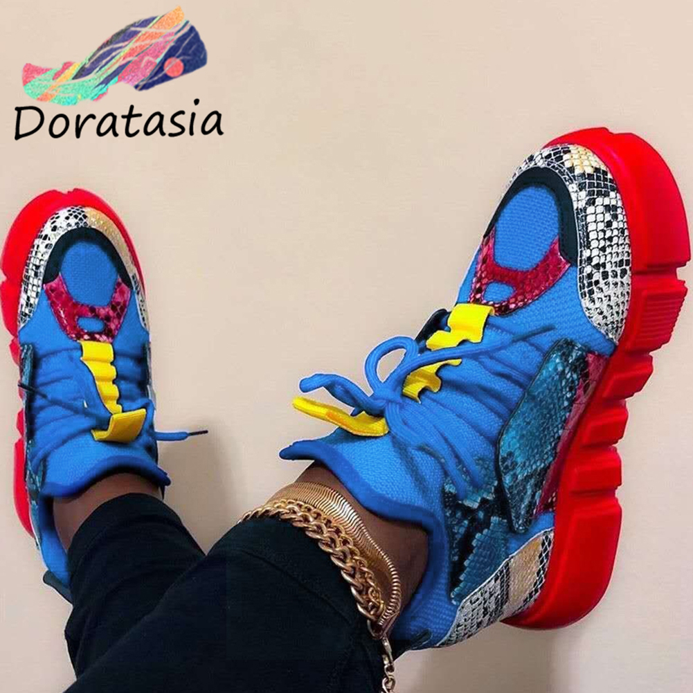 DORATASIA Fashion Brand Mixed Color Female Mid Heel Sneakers Spring Summer Platform Sneakers Women Snake Patchwork Shoes Woman