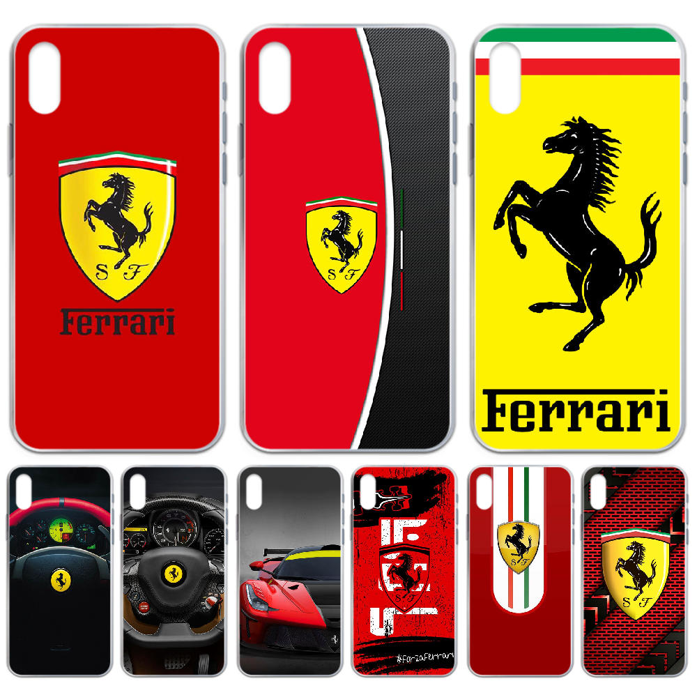 ferrari Sports car Phone <font><b>Case</b></font> cover For <font><b>iphone</b></font> 4 4S 5 5C 5S 6 6S PLUS 7 8 <font><b>X</b></font> XR <font><b>XS</b></font> 11 PRO SE 2020 MAX transparent cover 3D coque image
