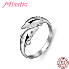 MISSITA 100% 925 Sterling Silver Cute Dolphin Rings For Women Silver Jewelry Brand Wedding Anniversary Finger Ring HOT SELL Gift цены онлайн