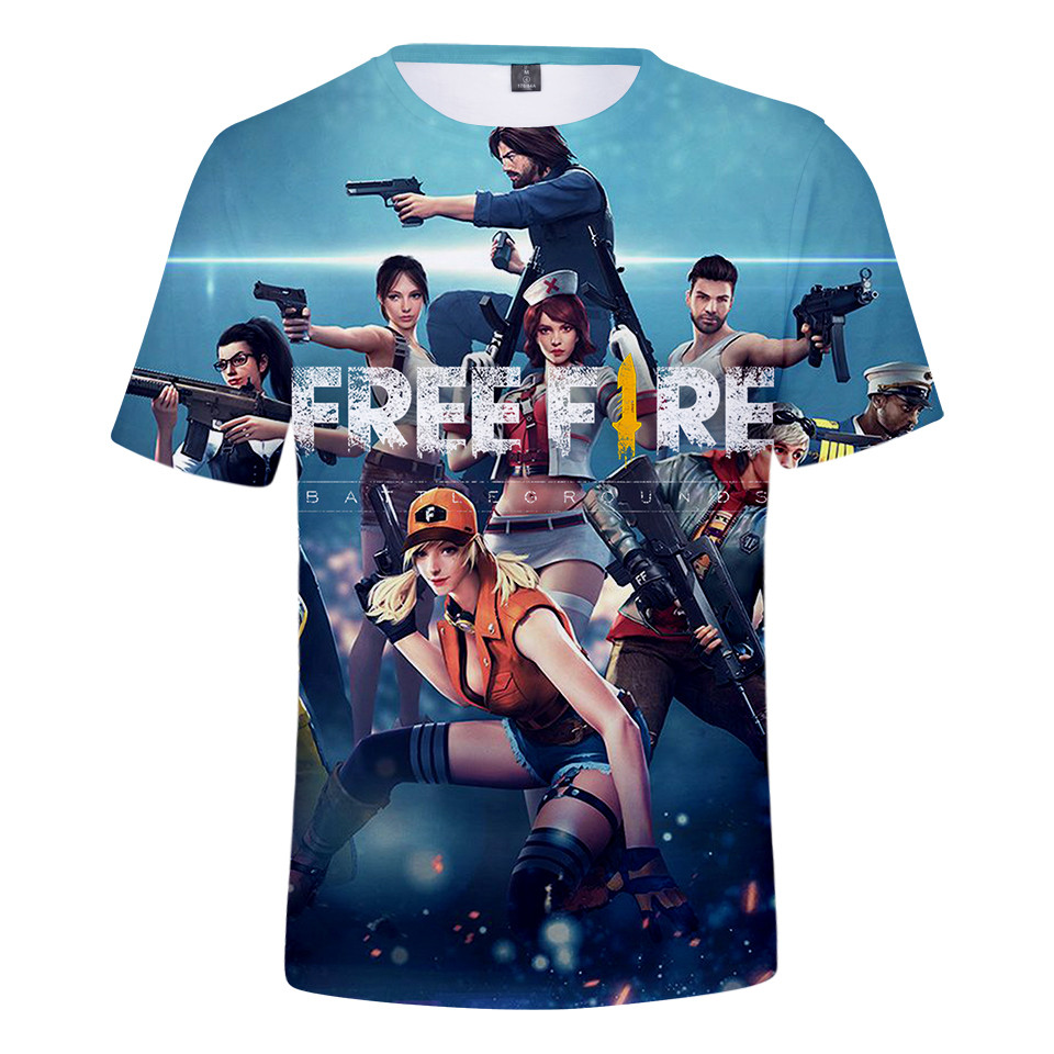 2021 Game Free Fire 3D Printed T-shirt Men's and Women's Fashion Streetwear O-neck Short-sleeved Oversized Top