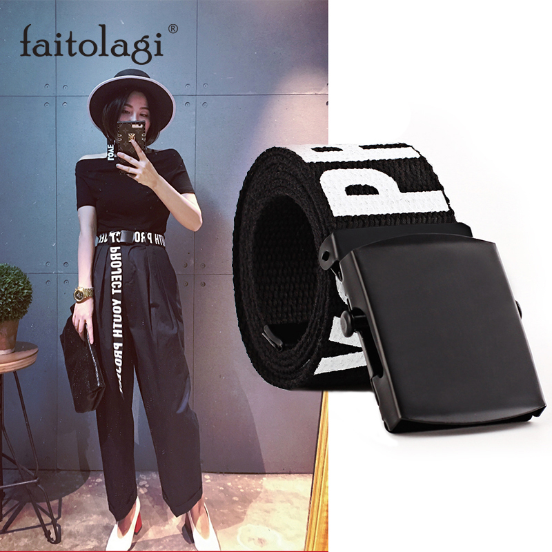 Adjustable Letter Canves Waist Belt Strap All-Match Women Men Belt With Metal Buckle Black Girls Jeans Pants Long Waistband